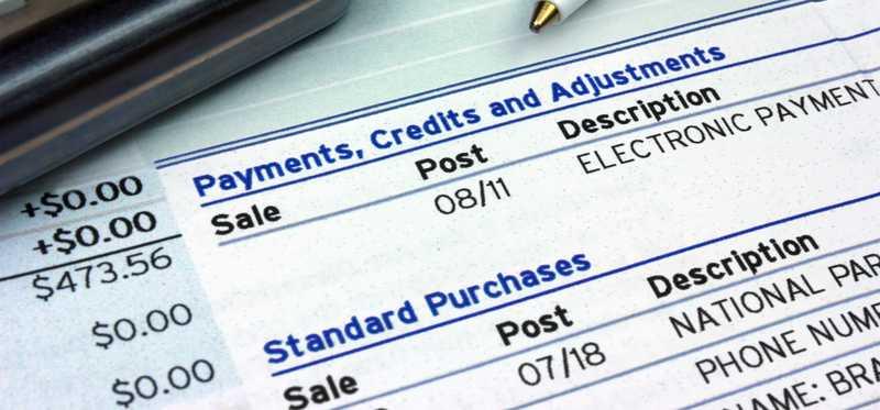 Closeup of a credit card statement detail.