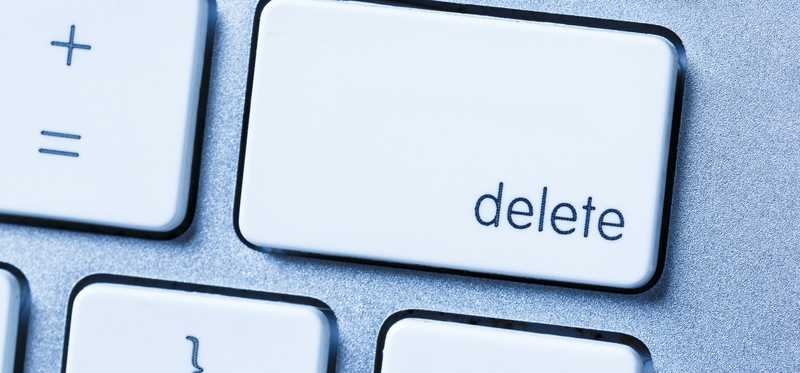 A closeup of the delete key on a keyboard.