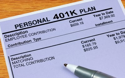 401k plan sheet showing contributions and match.