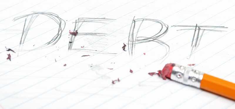 The word debt being erased.