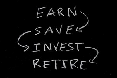 Blackboard reading Earn Save Invest Retire
