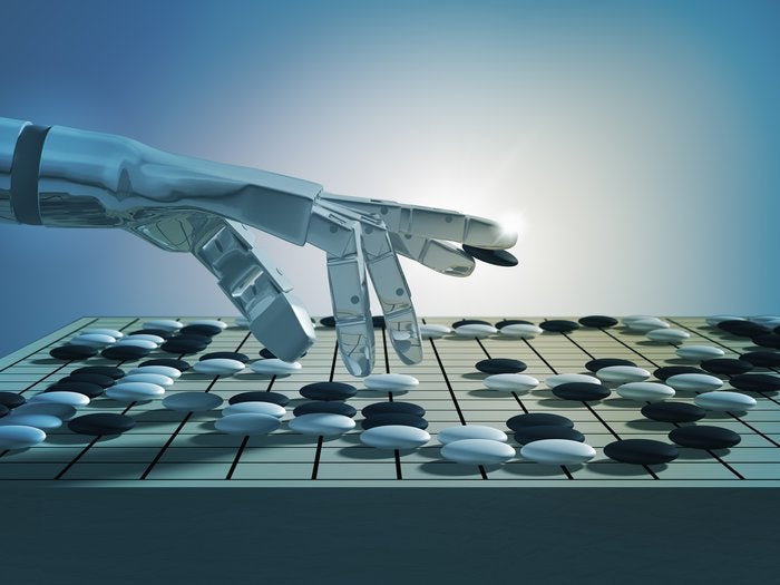A.I. hand playing the game of Go
