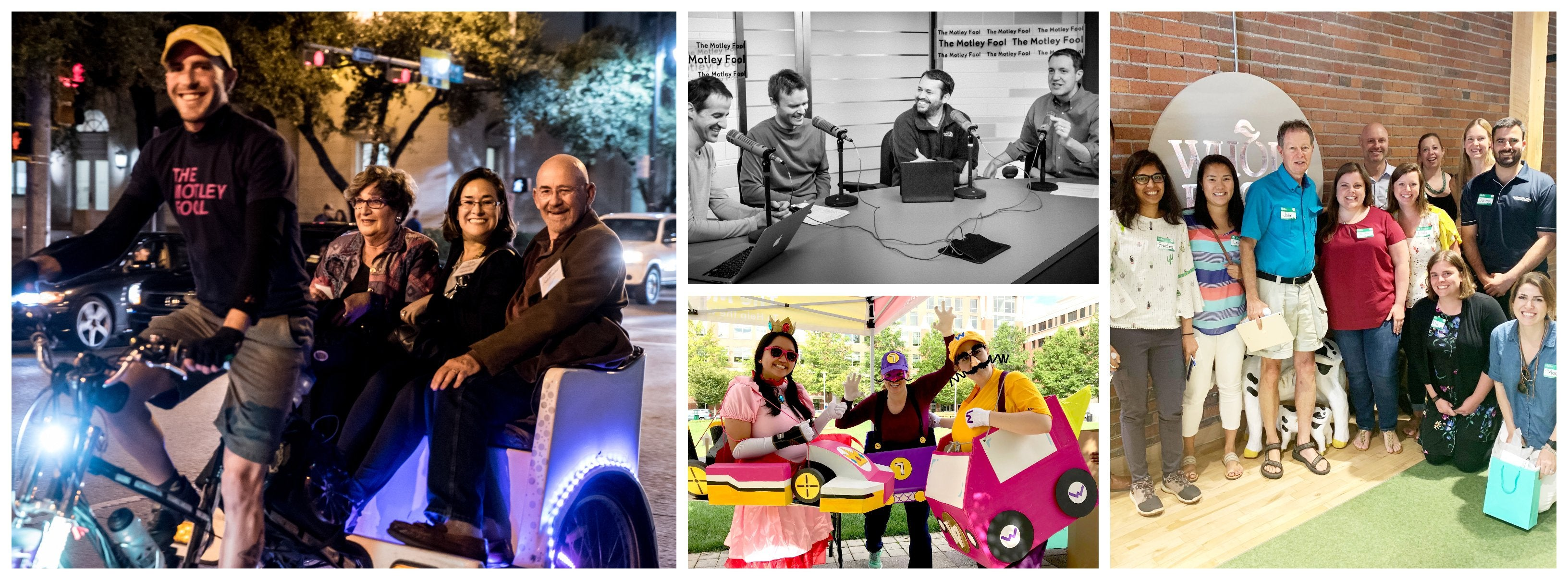 A collage of members and Motley Fool employees having fun and recording a podcast.