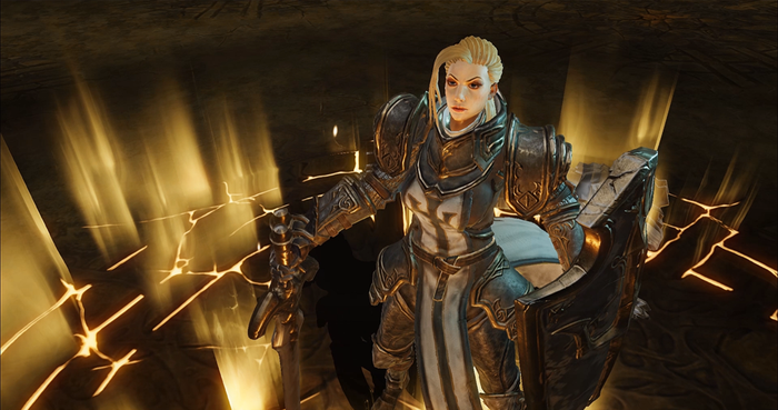 Activision Blizzard character in full armor with her blonde hair showing