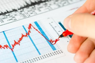 An investor circling a trough in the stock market with a red felt pen.