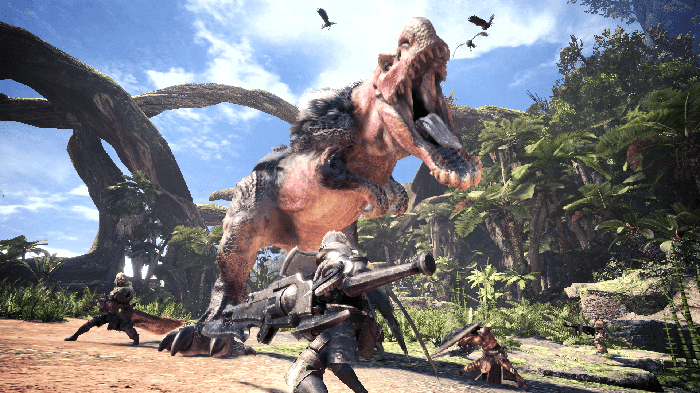 Capcom characters fighting a T Rex in tropical terrain