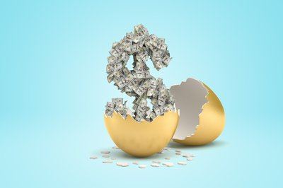 Dollar sign made of dollar bills rising out of cracked golden egg