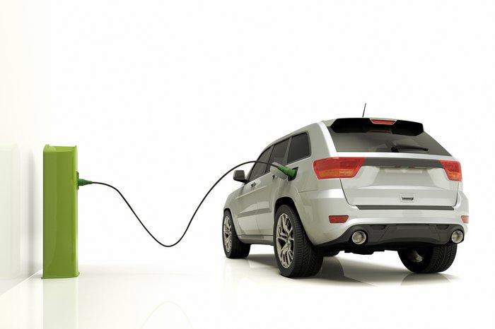 Electric car recharging.