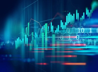 A colorful, abstract collection of stock trading charts
