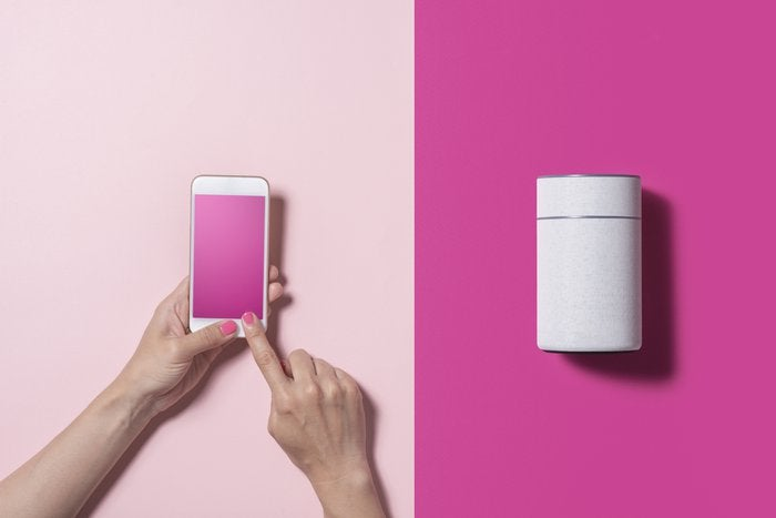 Smart Speaker and smart phone with pink backgrounds