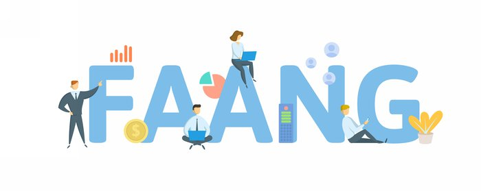 FAANG, Big Tech. Concept with keyword, people and icons. Flat vector illustration. Isolated on white background.