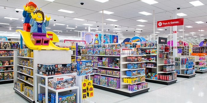 The interior of a Target store showing the toy aisles