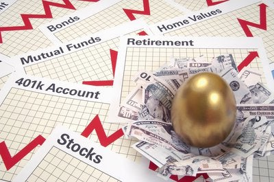 Pages tracking varying types of investments including stocks, bonds, and mutual funds along with cash nest holding golden egg.