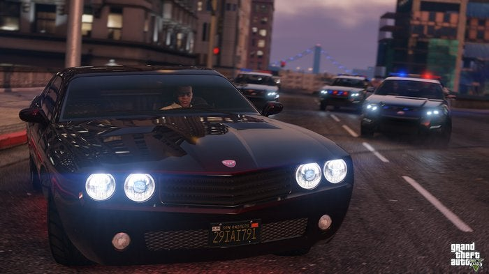 Take-Two Interactive character driving a sports car while being chased by the police