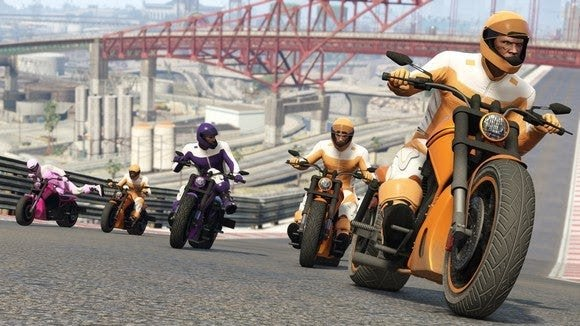 Take-Two Interactive characters racing motorcycles up a hill
