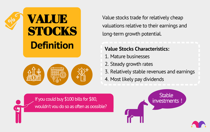 """List of characteristics of value stocks. Also, a horse that is saying """"stable investments."""""""