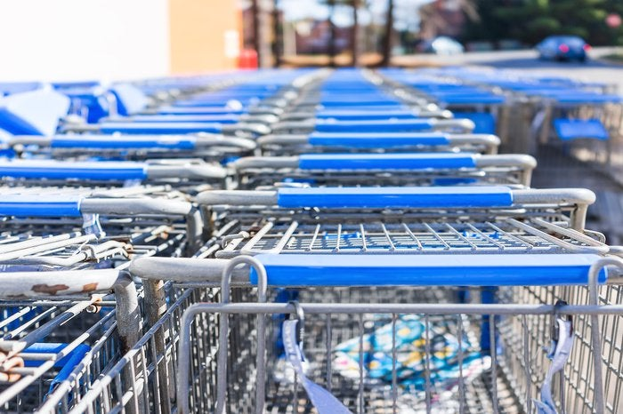 Blue Wal-Mart shopping carts stacked together