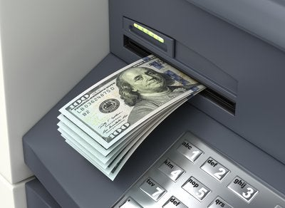 ATM cash withdrawal of hundred dollar bills