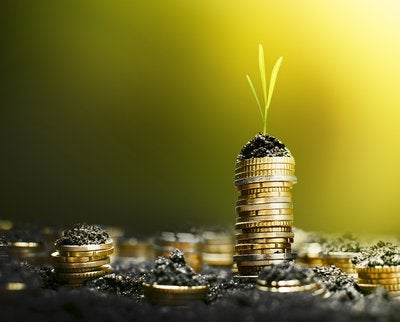 coins stacked with plants growing from stack tops