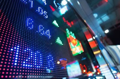 Screen displaying stock market quotes