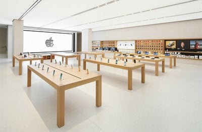 The interior of an Apple store.