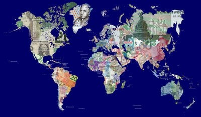 world map made of different countries currencies