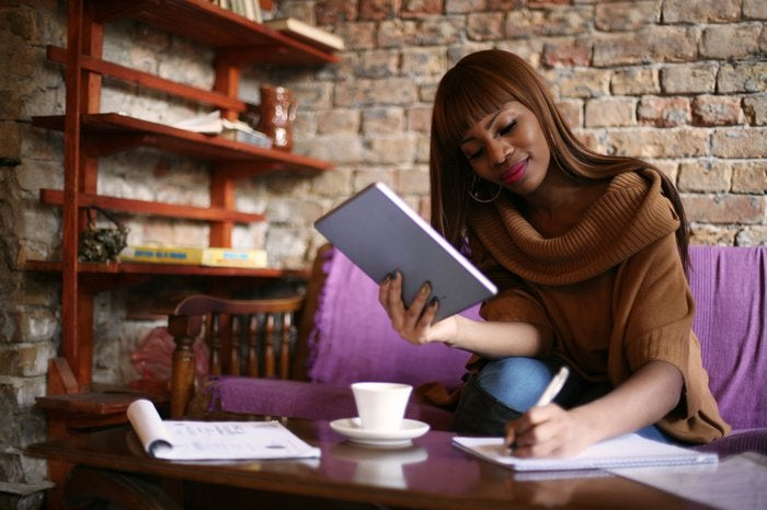 Woman making financial choices