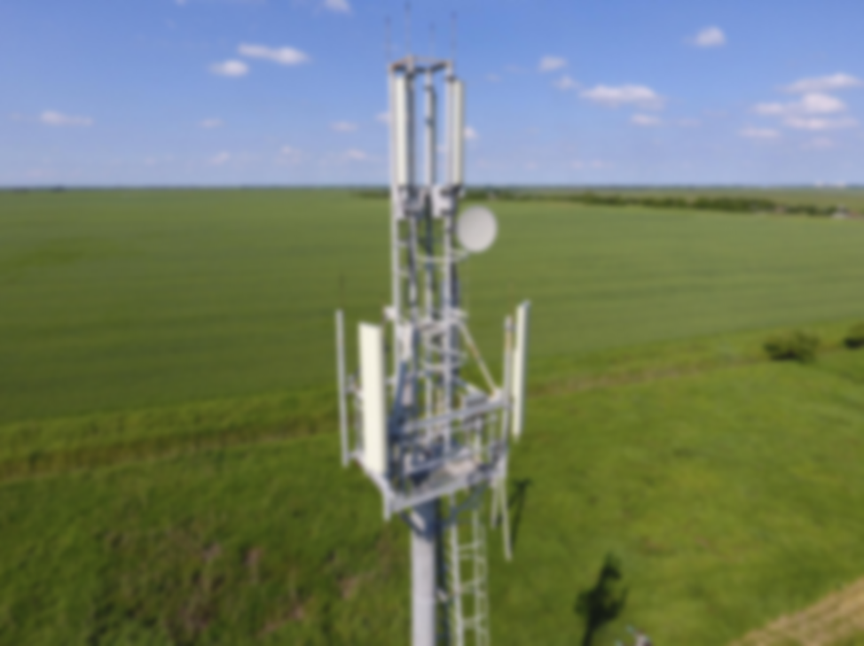 Cell tower in a field