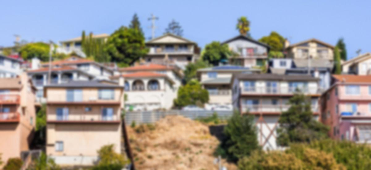 houses on a hillside in California
