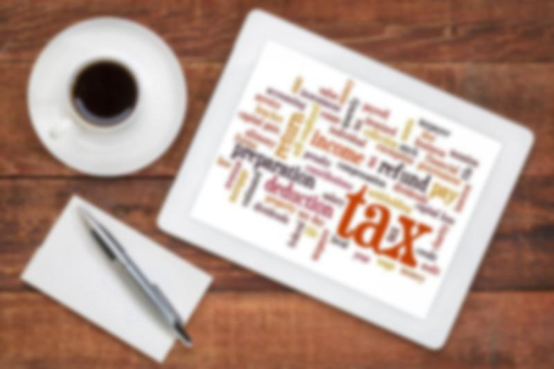 tax terms on a tablet