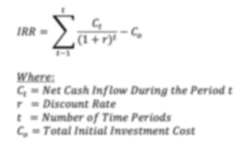 IRR Formula from Stratafolio