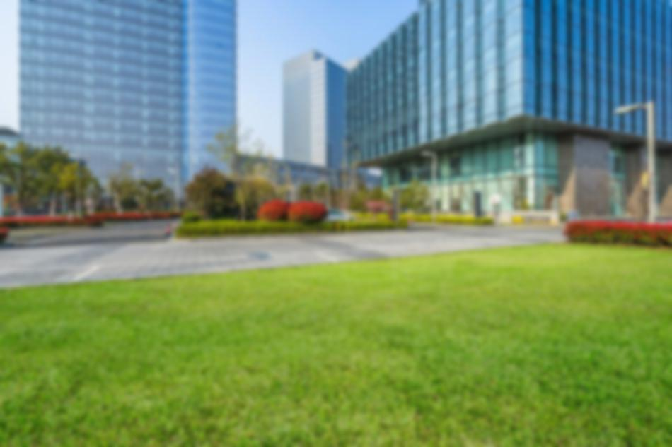 office buildings and grass
