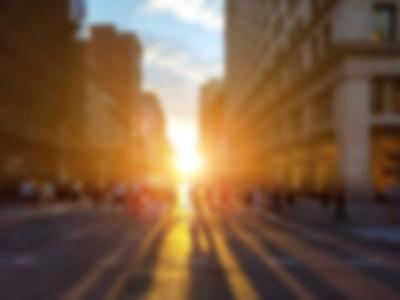 City sidewalk at sunset