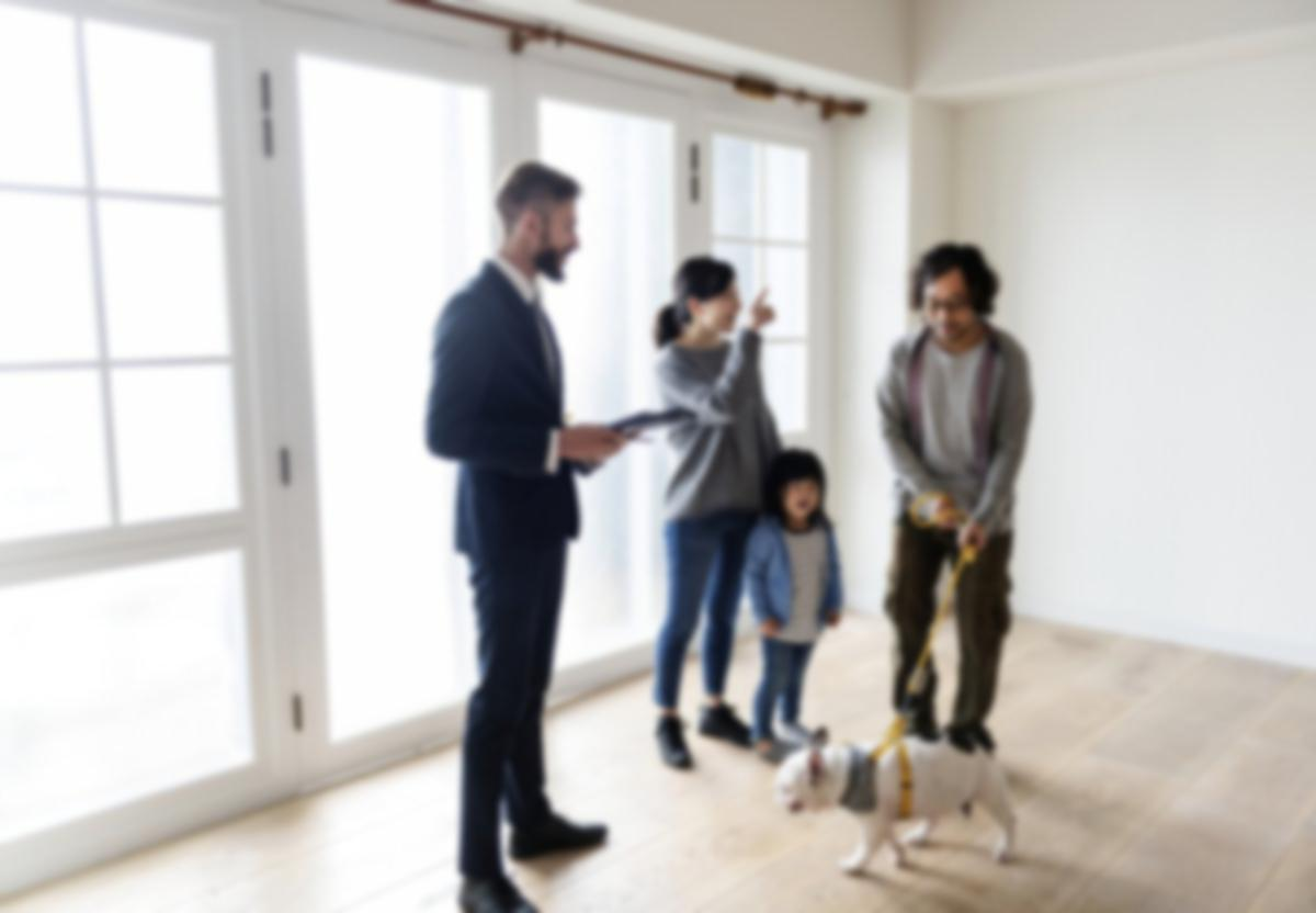 Family looking at a rental