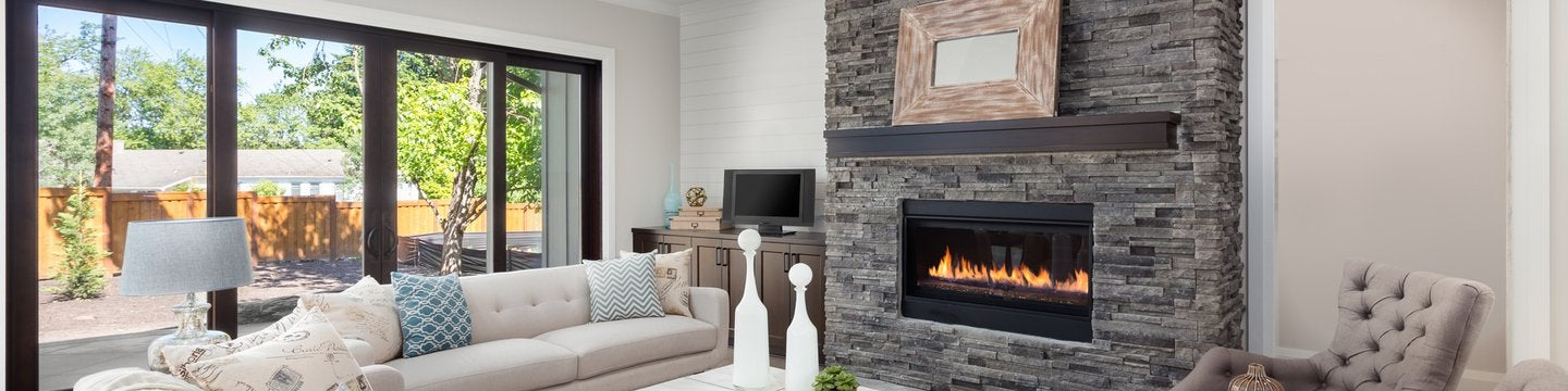 Living room interior with hardwood floors and fireplace
