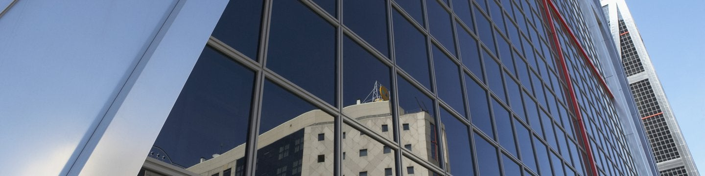 close up of building with reflection