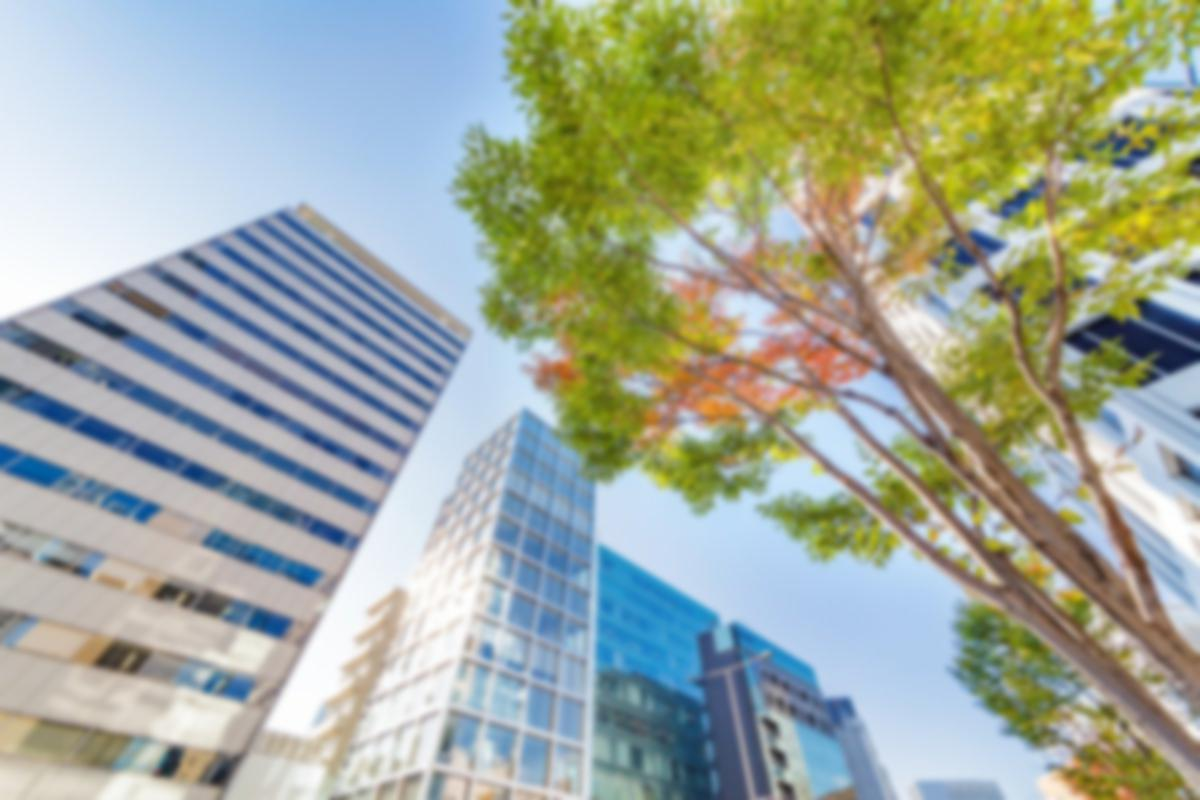 upward view of city buildings and trees