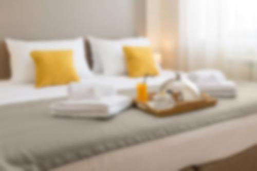 hotel bedroom breakfast in bed