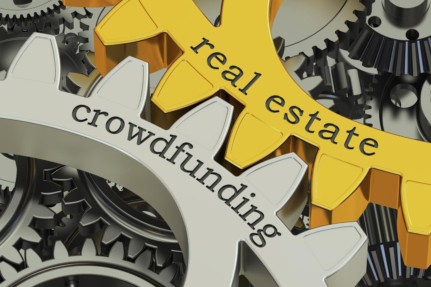 Gears showing real estate and crowdfunding