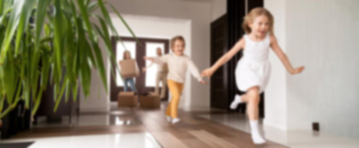 kids running in house