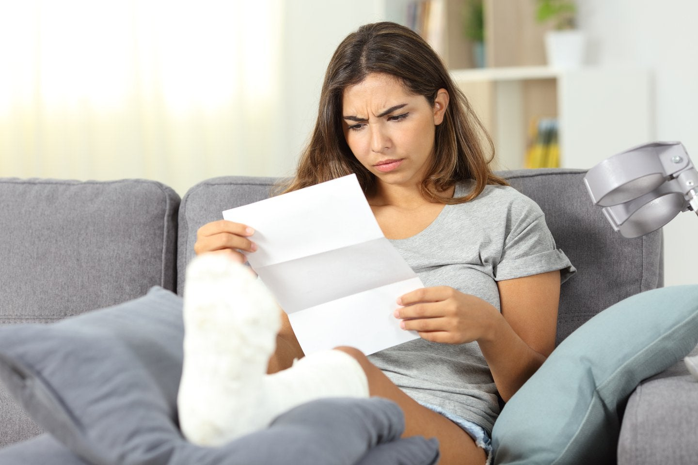 woman looking at document