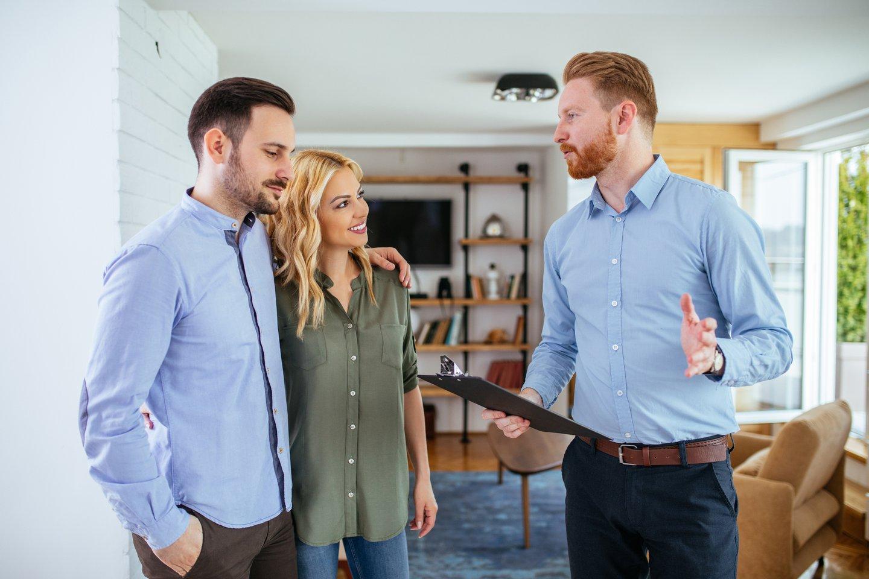 real estate agent talking