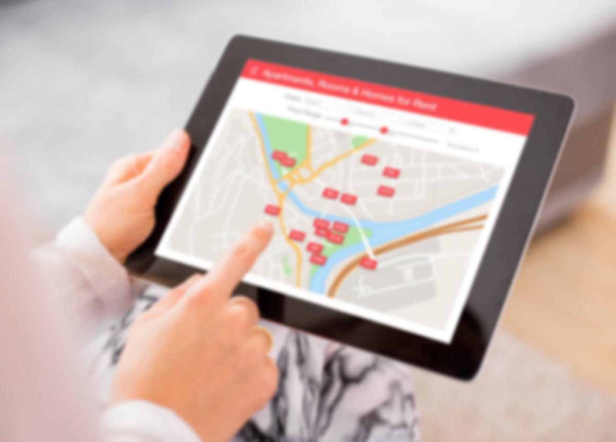 rental listings on an iPad