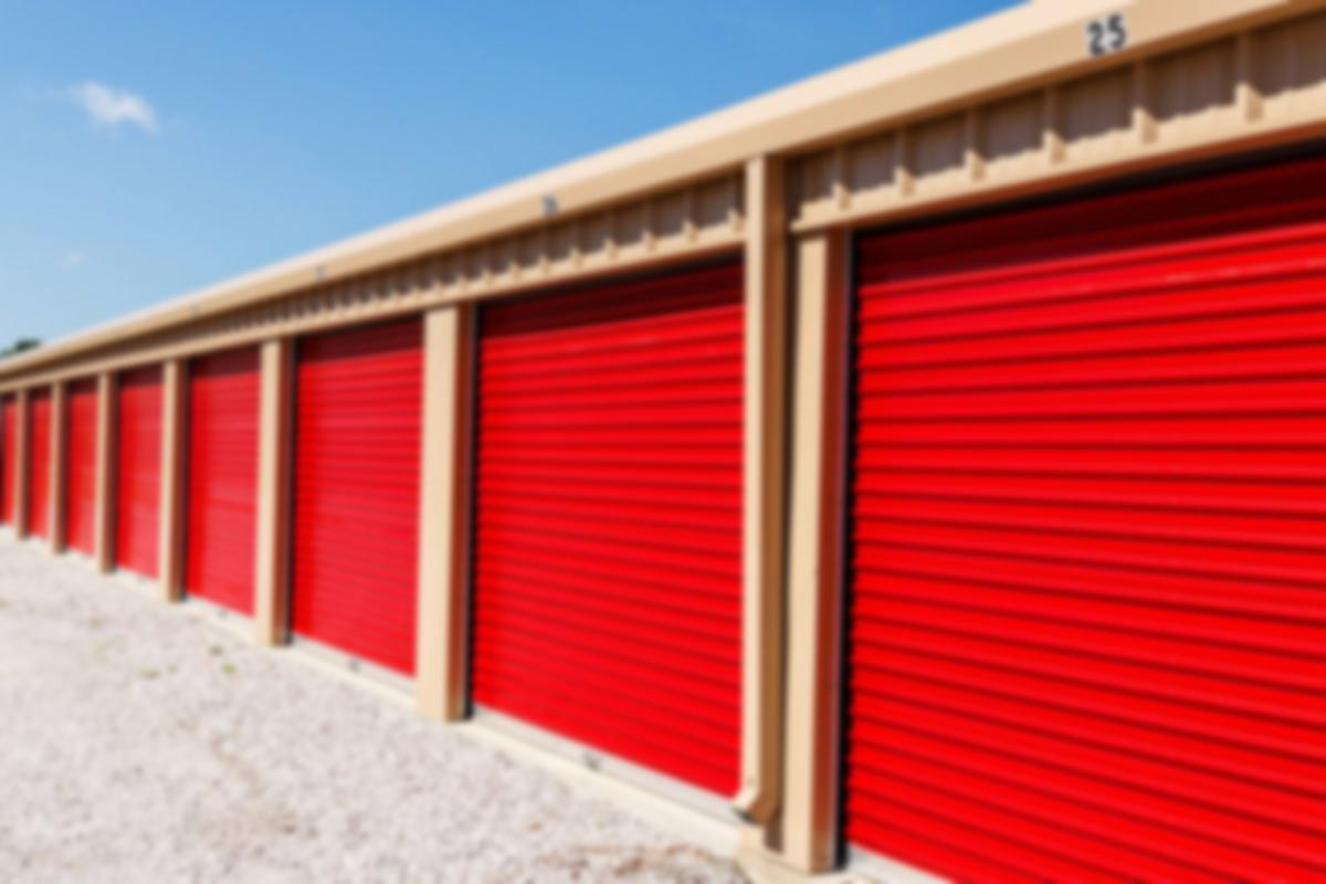 Self-storage facility with red doors