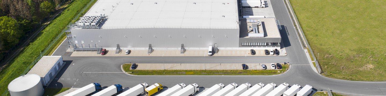 warehouse and trucks