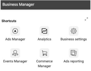 Facebook Business Manager screenshot with six icons under the heading Shortcuts