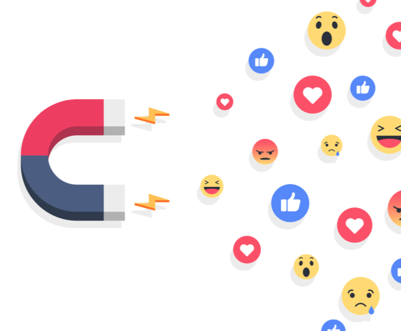 An illustration of a magnet attracting different Facebook like buttons.