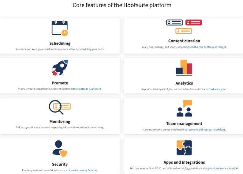 A screenshot of Hootsuite's features for social media management.