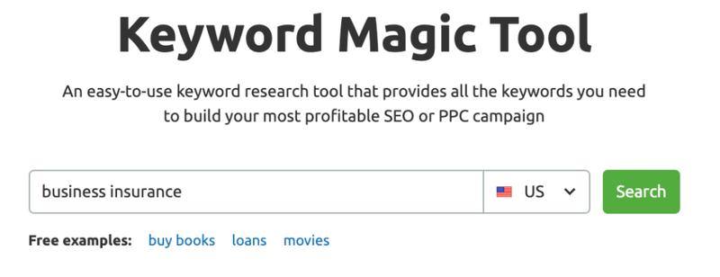 "Keyword Magic toolbar, populated with keyword ""business insurance."""