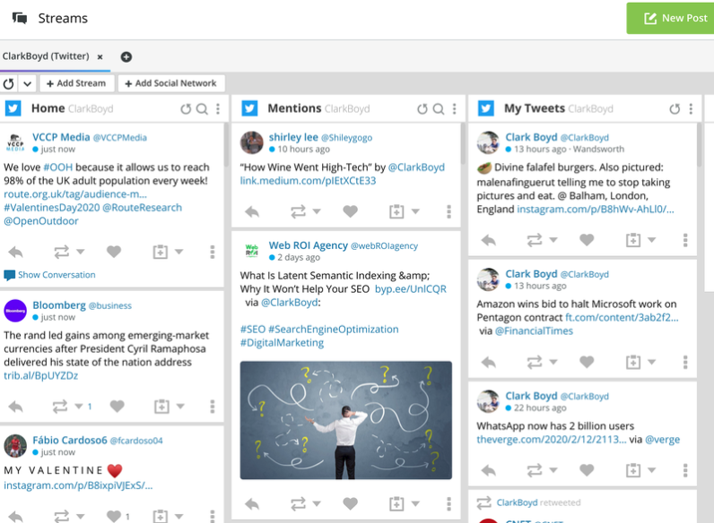 The Hootsuite's content streams for social listening.